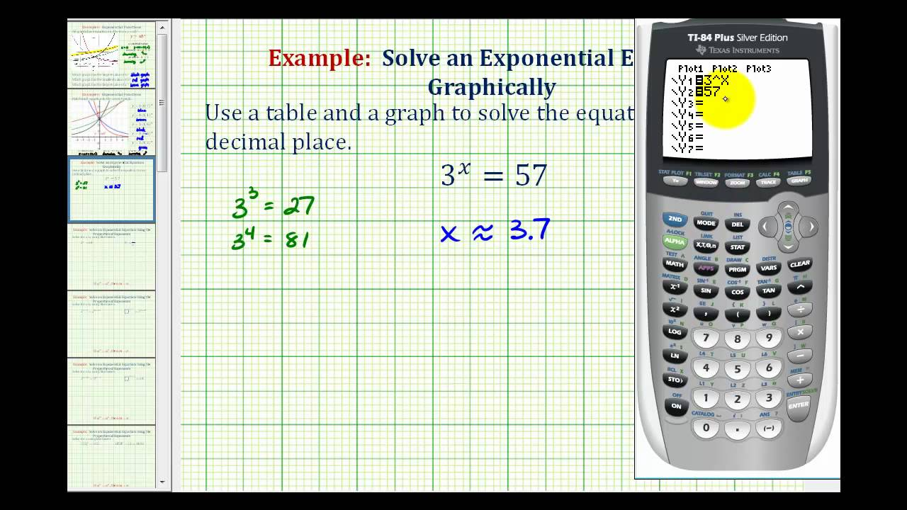 Ex: Solve an Exponential Equation Graphically on the TI84