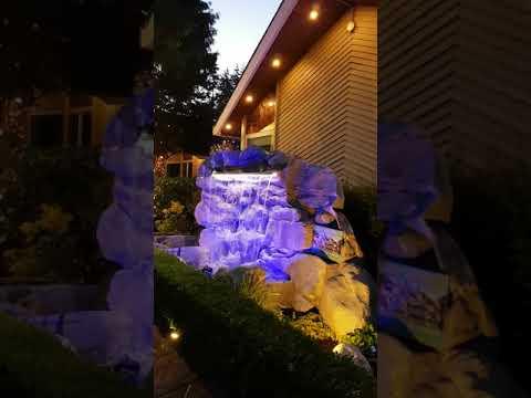 LED Lighting Outdoor Garden Rock Waterfall Pond