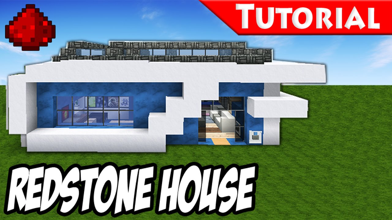 Minecraft how to build a modern redstone house tutorial for How to build a modern home