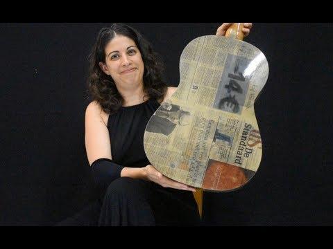 Gaëlle Solal plays the 'Newspaper Guitar' / Choro N°1 - H. Villa Lobos