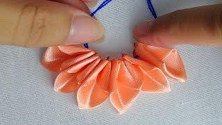 hand embroidery easy silk ribbon flower tutorial,ribbon work idea,ribbon embroidery
