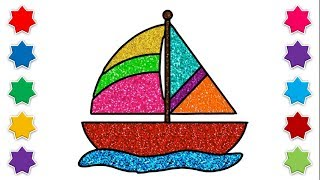Learn How To Draw Sailboat Coloring Speed Drawing Painting For Kids Step By Step