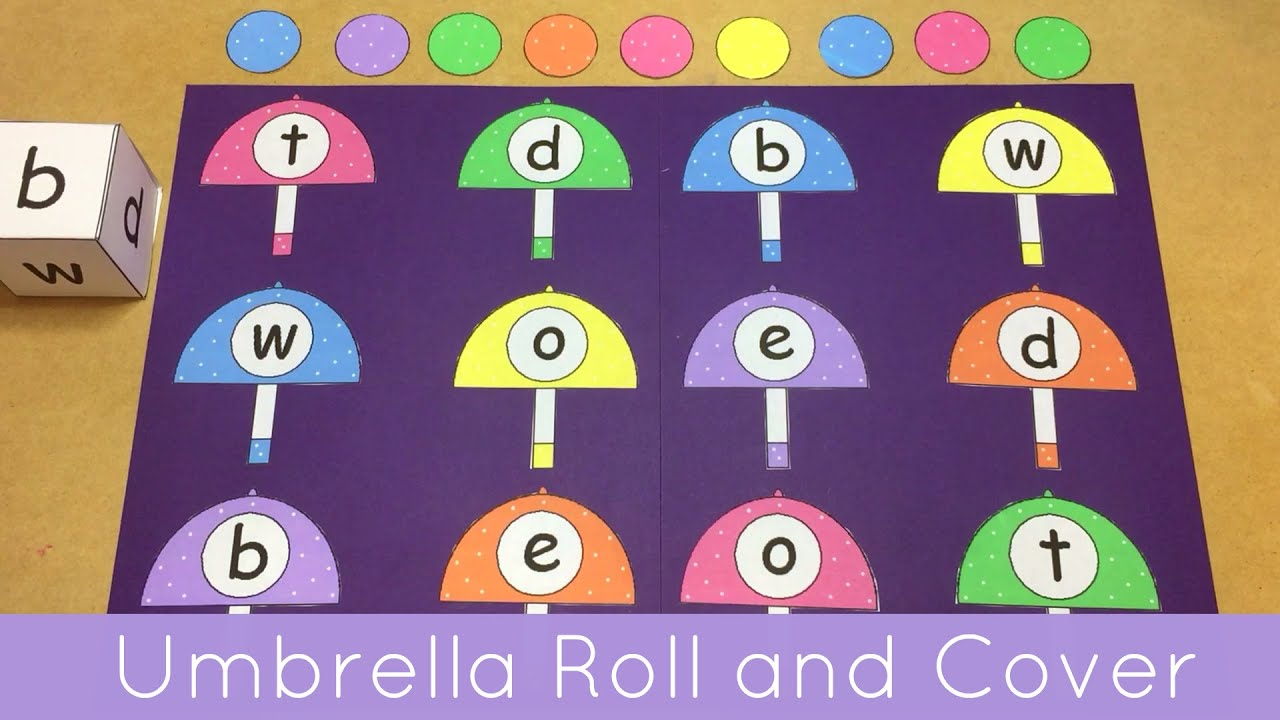 Umbrella Roll And Cover File Folder Game For Preschool Kindergarten