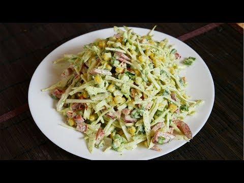 Капустный салат с кукурузой и перцем