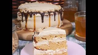 Легкий рецепт карамельного торта | Карамельный торт с простым кремом