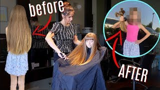 8yr old DONATES over 15 INCHES of hair!