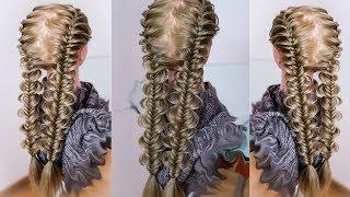 Две косы для девочки, в школу  Ажурный рыбий хвост  Trenzas gemelas