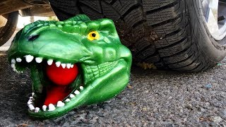 Crushing Crunchy & Soft Things by Car! - EXPERIMENT: TOY DINOSAUR vs CAR vs FOOD