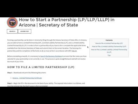 How to Start a Partnership (LP/LLP/LLLP) in Arizona | Secretary of State