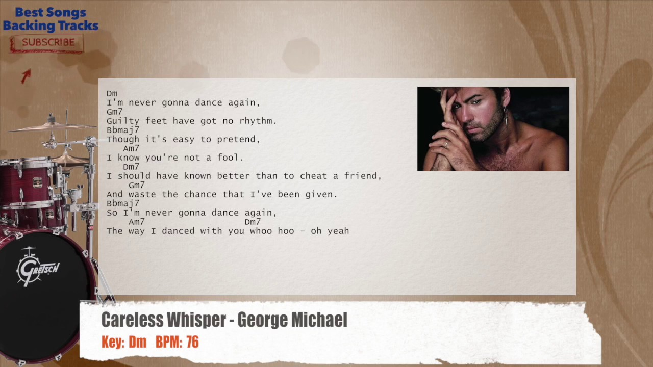Careless Whisper - George Michael Drums Backing Track with chords and lyrics