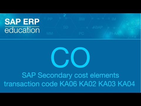 SAP CO Master Data: Secondary cost elements transaction code KA06 KA02  вторичный вид затрат
