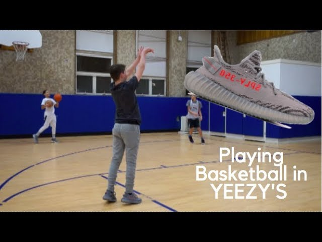 Playing Basketball in YEEZY'S!!! - YouTube