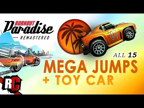 All 15 Mega Jumps + New Toy Car | Burnout Paradise Remastered (Big Surf Island Mega Jumps)