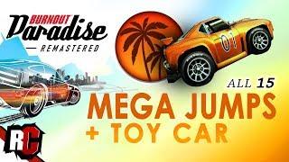 All 15 Mega Jumps + New Toy Car | Burnout Paradise Remastered (Big Surf Island Mega Jumps)