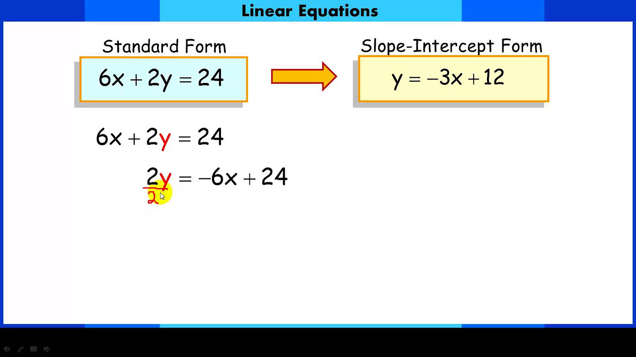 worksheet Standard Form Linear Equation convert a linear equation from standard form to slope intercept with videos worksheets games activities