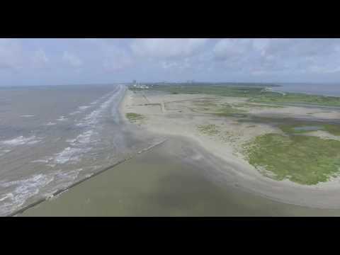 Flight from Bolivar Peninsula to East End Beach in Galveston Texas