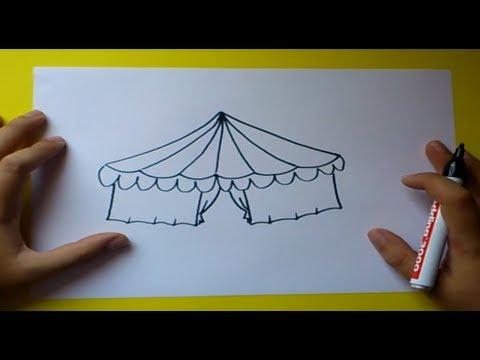 Como dibujar un circo paso a paso how to draw a circus - Dibujos en la pared infantiles ...