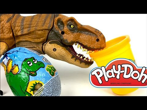 Thumbnail: PLAY-DOH DINOSAUR MOLDS WITH T-REX TRICERATOPS STEGASAUROS BRACHIOSAUROS & JURASSIC WORLD SURPRISE