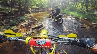 Motocross Bikes in the Creek