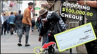 Dropping $100,000 CHECK in front of HOMELESS Experiment *emotional*