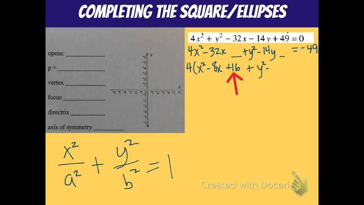 Complete The Square Ellipse