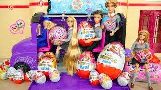 Barbie School Bus carries LOL Surprise Eggs & Kinder Eggs L.O.L Überraschungseier Kejutan telur