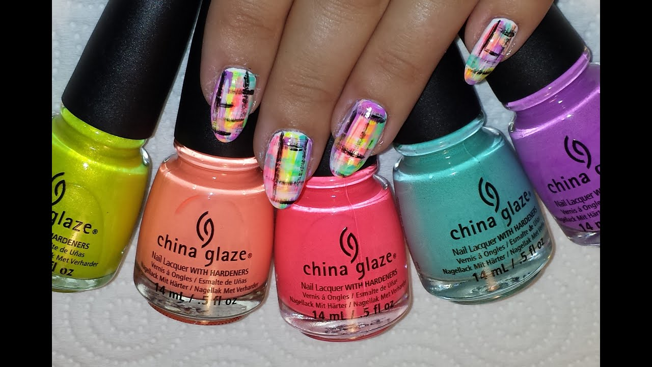 Neon Tweed Dry Brush Nail Art With China Glaze Neons Youtube