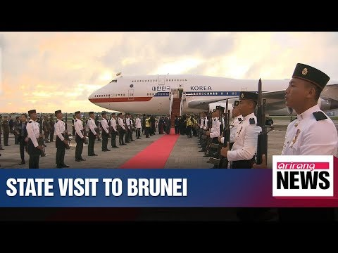 President Moon arrives in Brunei on first leg of 3-nation ASEAN tour