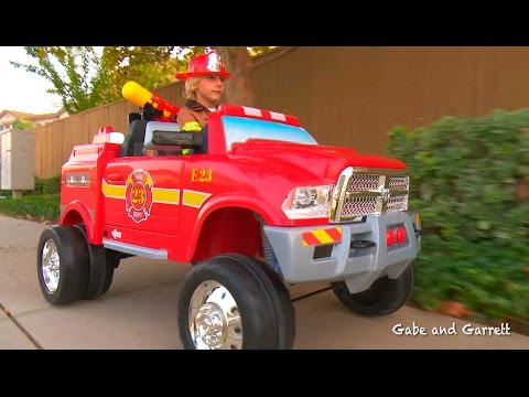 Kids Fire Truck Unboxing and Review - Dodge Ram 3500 Ride On Fire Truck!