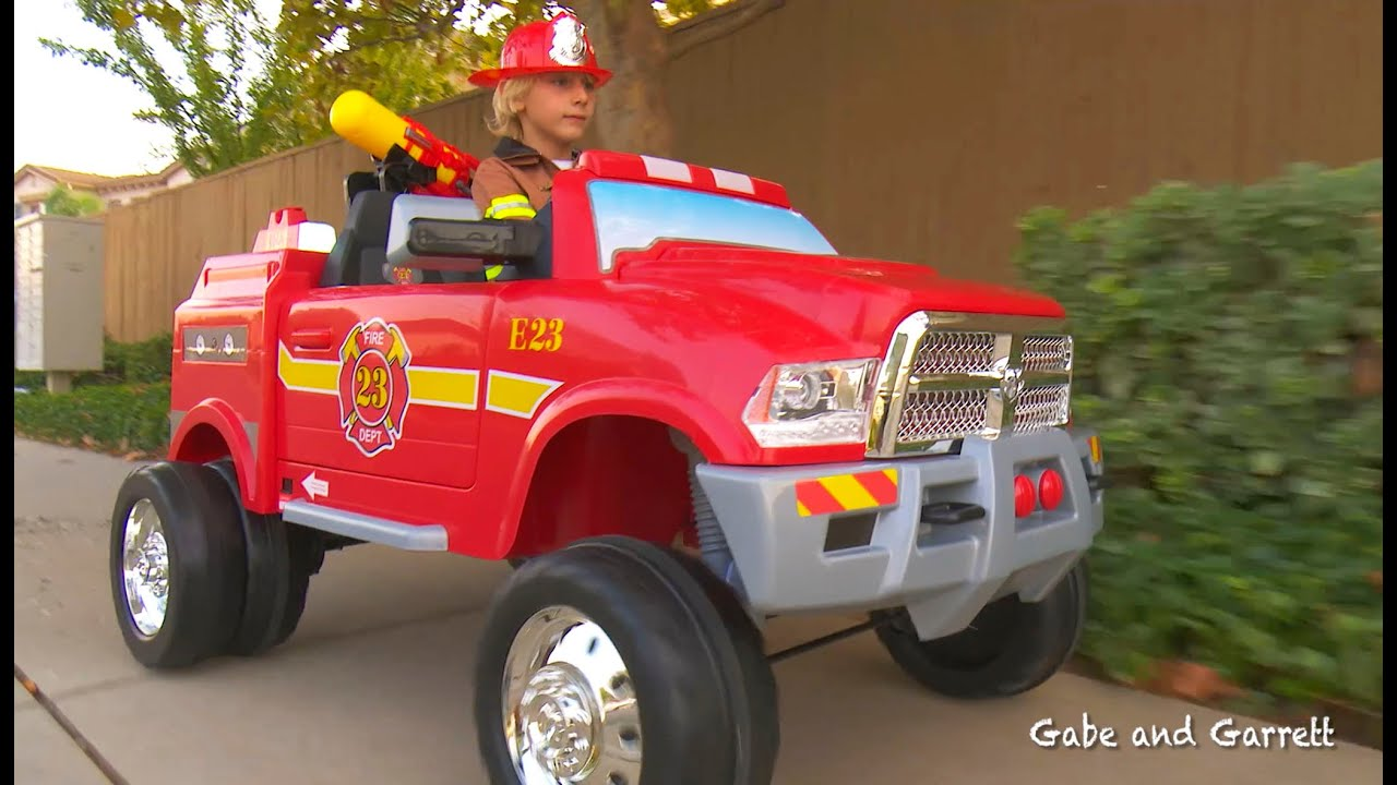 Kids Fire Truck Unboxing and Review - Dodge Ram 3500 Ride On Fire ...