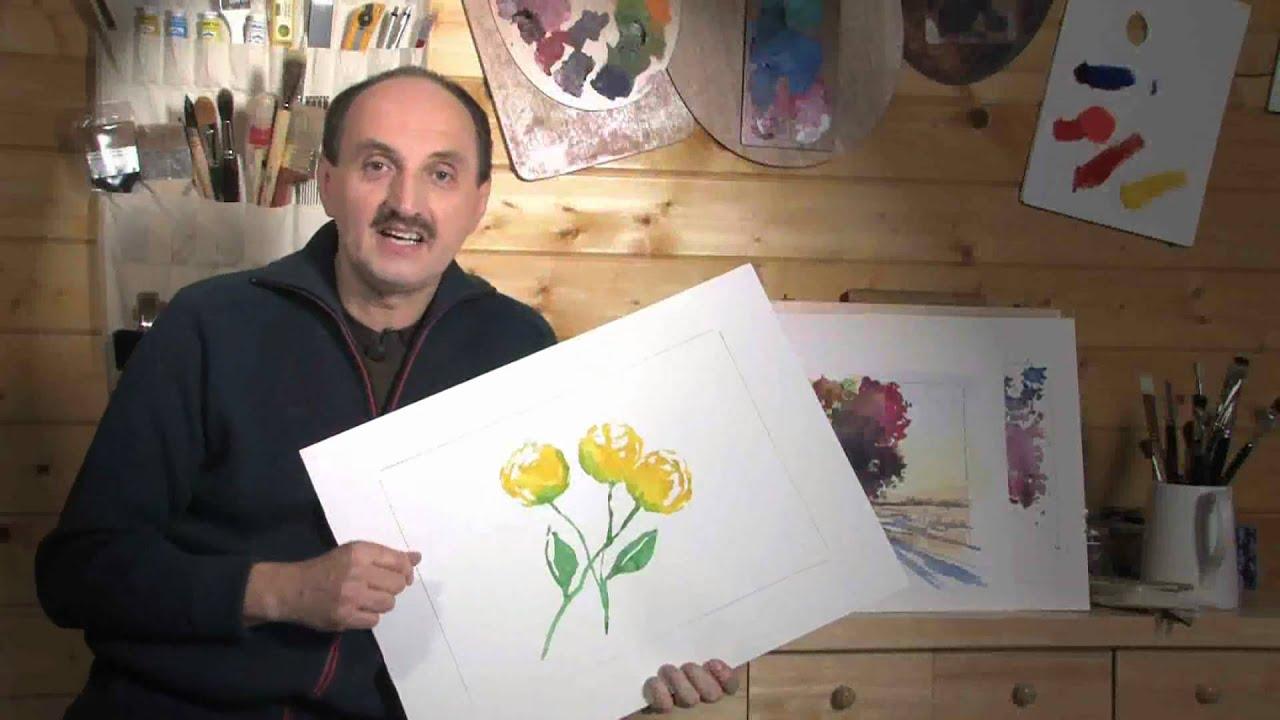bettags malschule mein erstes aquarell gelbe rose youtube. Black Bedroom Furniture Sets. Home Design Ideas