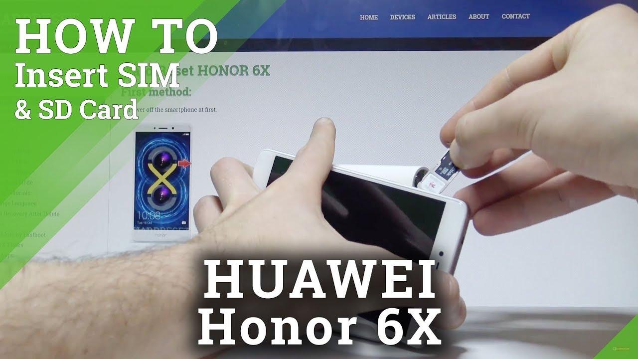 carte sim honor 6x How to Insert SIM & SD Card in HONOR 6X |HardReset.info   YouTube