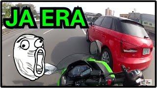 acidente batida da ninja300 a 149 km h no audi a1 jhou motovlog