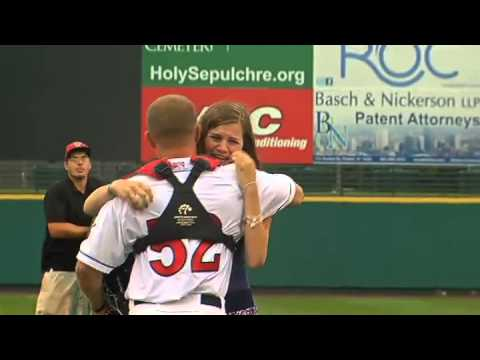 Marine surprises sister during first pitch