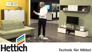 Technology For Furniture In The Living Room: Hettich Hinges, Drawers + Sliding Doors