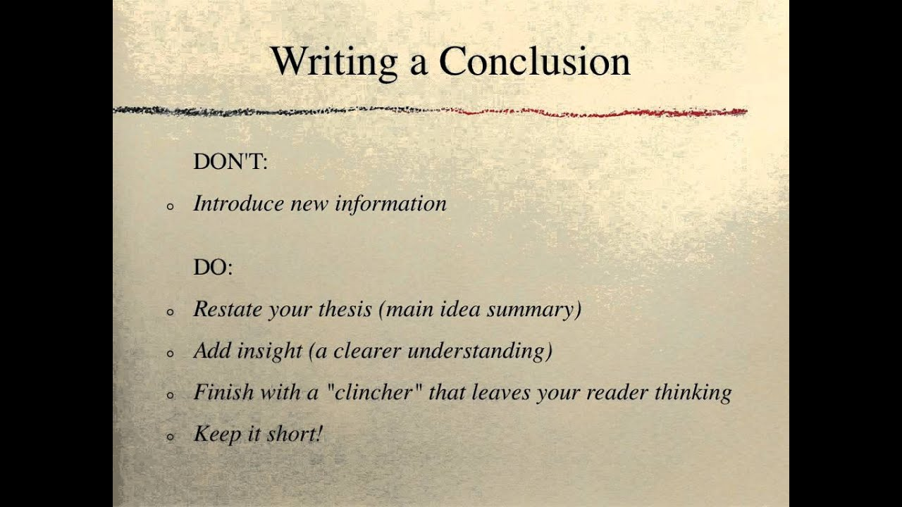 how to write a conclusion in an essay That's how you write an essay in the conclusion, tell them what you told them sum up your argument by restating your thesis statement and reminding the reader what your three reasons were in an argumentative essay, you can finish with a call to action.