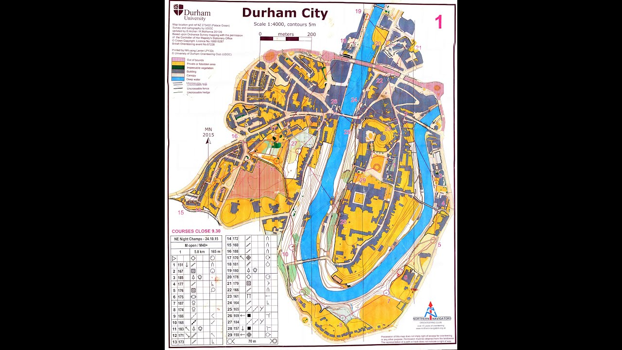 Northern Navigators Durham City Night Orienteering Event 24 October