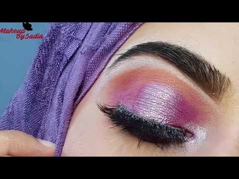 Purple & Silver Shimmery Eye Makeup Tutorial |Makeup by Sadia| thumbnail