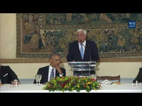 President Obama and President Pavlopoulos Toast