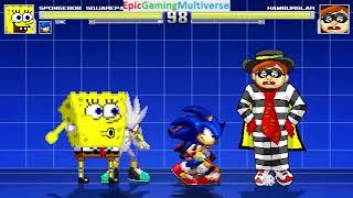 SpongeBob SquarePants And Sonic The Hedgehog Characters VS Hamburglar In A MUGEN Match / Battle