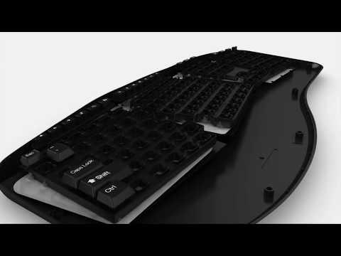Adesso Tru-Form 4500 2.4GHz Wireless Ergonomic Touchpad Keyboard
