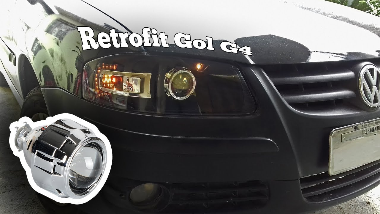 Projetor farol gol g4 retrofit projetor bixenon youtube for Farol exterior de pared