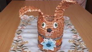 Плетение из газет Заяц поделки из бумаги How To Make Paper Basket