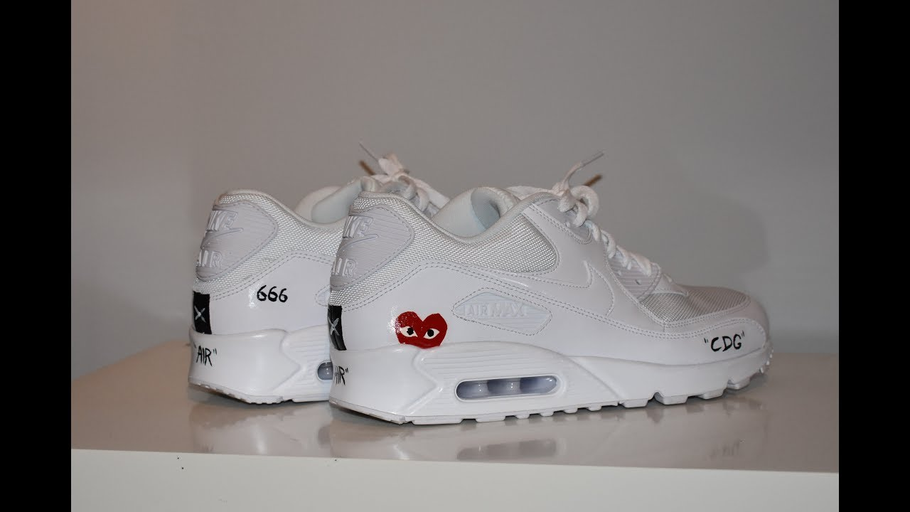 92ed3778dc Air max 90 x comme des garçons custom | off white inspiration - YouTube