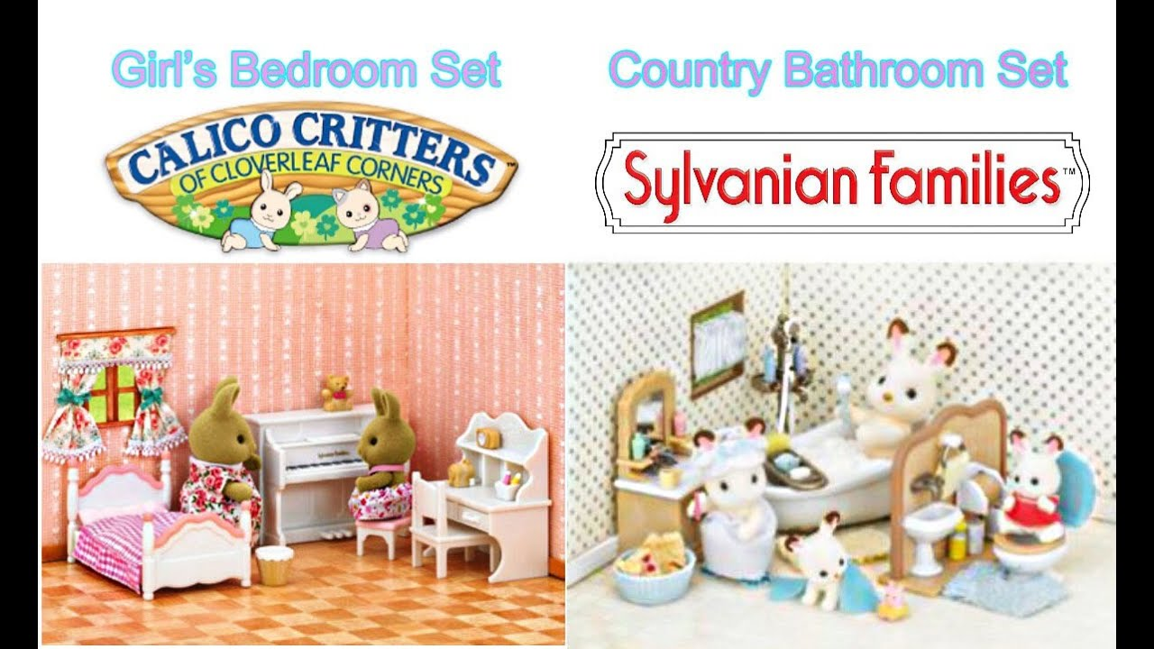 Sylvanian Families Calico Critters Girl S Bedroom Set And Country Bathroom Set Unboxing