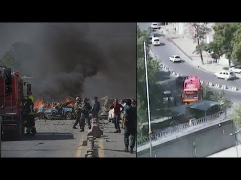 Moment of Kabul bombing captured by a security cam