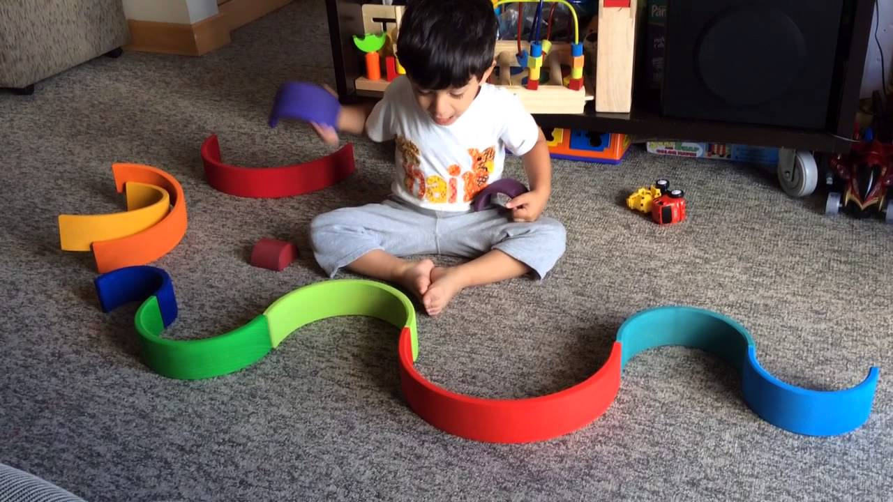 Moksh Plays With Grimm's Rainbow stacking Blocks: An open ended Waldorf Toy