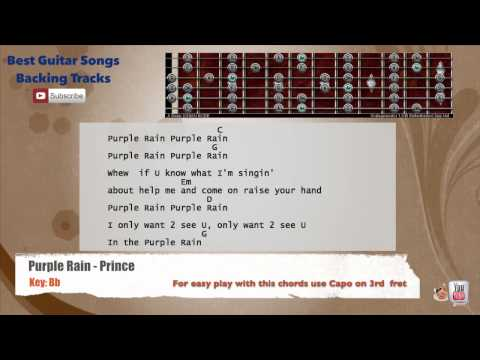 Purple Rain - Prince Guitar CAPO 3 Backing Track with scale, chords and lyrics