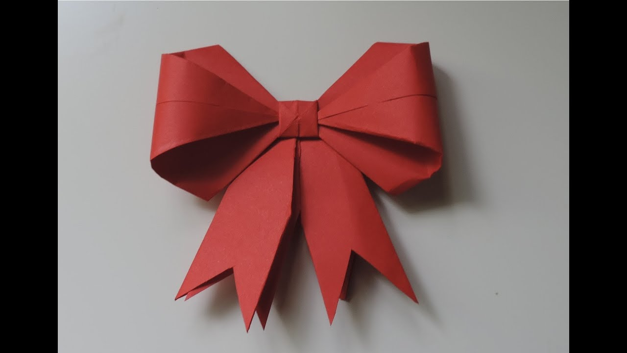 How To Make A Paper Bow / Ribbon . (Full HD) - YouTube