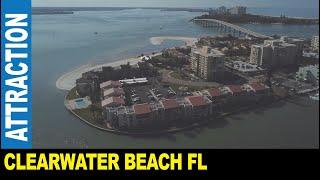 Drone flight hot Clearwater Beach Point Condos beautiful bay views palm trees   Jarek in Florida USA
